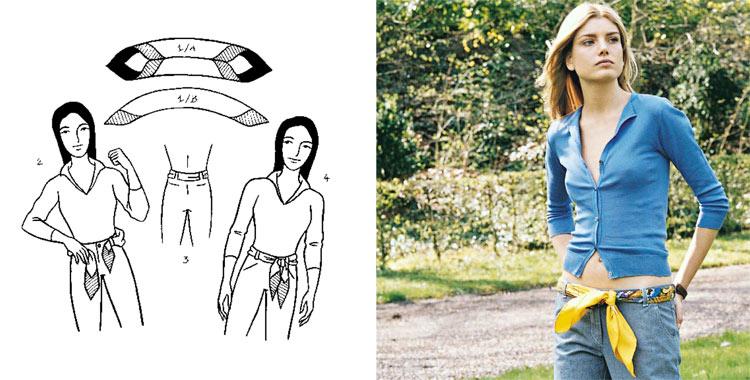 1. Расположите платок швом в середину; 2. Проденьте его концы в брюки на манер ремня; 3. Завяжите бантом или простым...