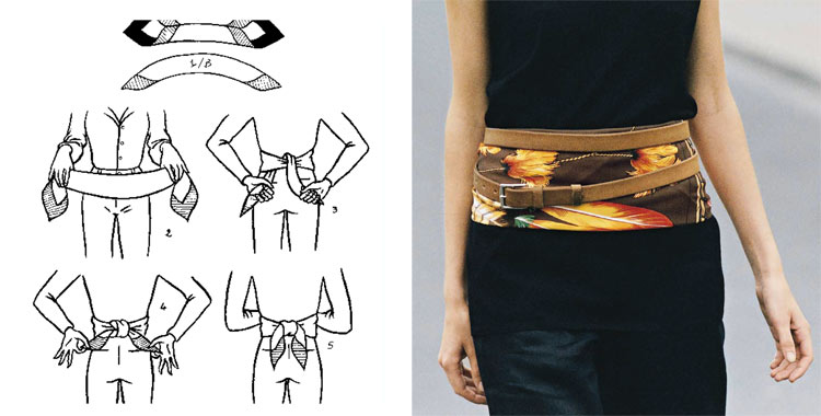 На строгом и облегающем мини-платье можно подчеркнуть талию, завязав платок в виде широкого кушака.